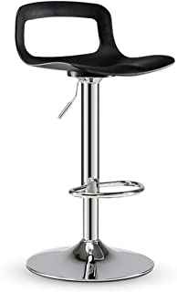 NMDB Mode europeenne Tabouret Haut Tabouret Bar reglable Hauteur Mode Cuir Tabouret Bar avec Dossier Dossier Rotatif Chaise Loisirs siege  Couleur Black-Mirror Chassis