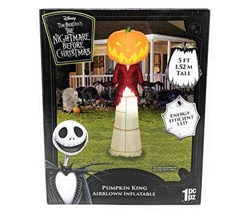 Disney The Nightmare Before Christmas Pumpkin King 5' Tall Halloween Inflatable Yard Decoration