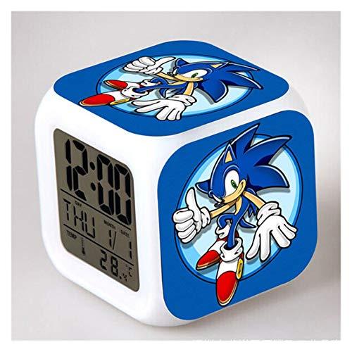 JSJJAYU Despertador para niños Sonic The Hedgehog Relojes Digital LED Reloj de Alarma Tails Miles Digitale (Color : 7)