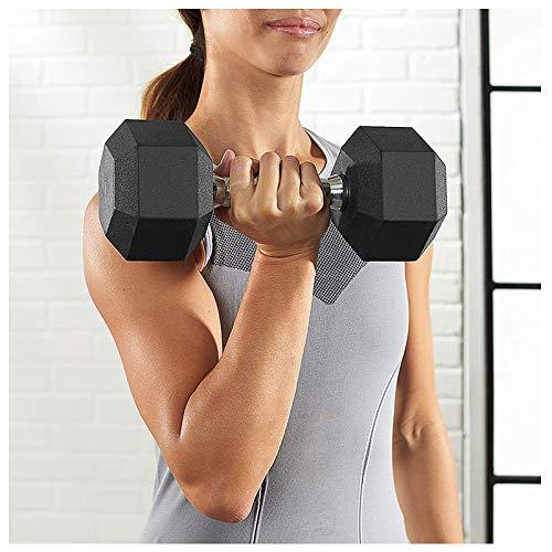 XIJING 2 Stück Gummi ummantelte Hex Hantel/Langhantel mit Metallgriffen, Einzelgewicht 5 kg für Fitnessgeräte