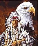 N\A Pintar por Numeros Niños con Cepillos DIY Pintura Al Óleo Kit | para Manualidades - El Águila Y El Jefe 40X50Cm