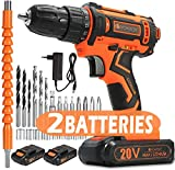 V VONTOX Cordless Drill/20V MAX Power Drill, 370 In-lb, 2x2000mAh Batteries, 1H...