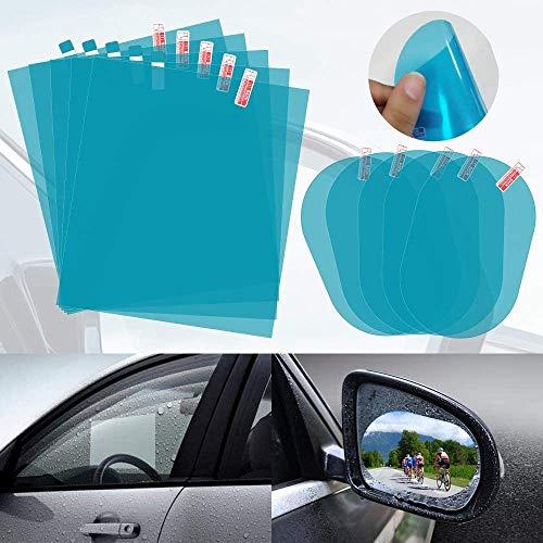 AutoEC 10 Stück Rückspiegel Auto Film, Anti-Fog Anti-Regenfolie für Seitenspiegel Windschutzscheibe, Blendschutzfolie für Fenster, Nano-Beschichtung Regenschutzmembran für Autos SUV Trucks Bus