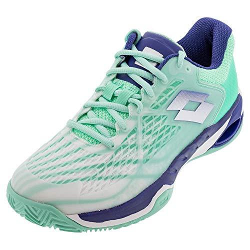 Lotto Mirage 100 Clay Damen Weiss (Numeric_40_Point_5), Zapatillas de Tenis Mujer, White Sodalite Blue Green, 40.5 EU