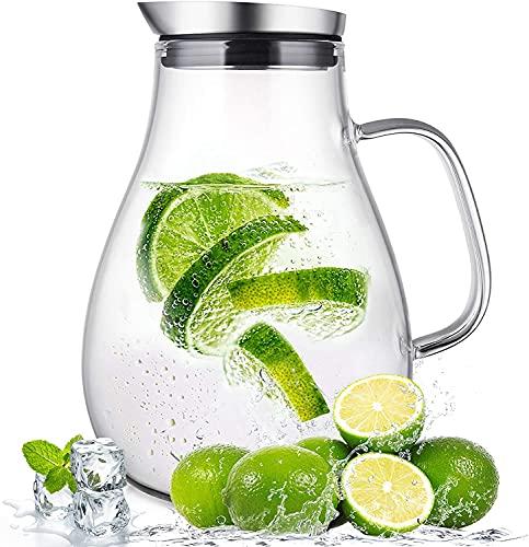 SUSTEAS 2,0 Liter Glaskrug mit Deckel Wasserkaraffe Krug für Warm/Kaltwasser, Eistee und Saftgetränk