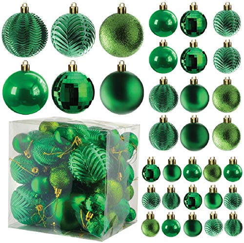 Prextex Green Christmas Ball Ornaments for Christams Decorations - 36 Pieces Xmas Tree Shatterproof Ornaments with Hanging Loop for Holiday and Party Deocation (Combo of 6 Styles in 3 Sizes)