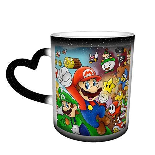 Super Mario Taza de color sensible al calor que cambia de color Taza que cambia en el cielo Tazas de café mágicas y divertidas de arte Taza de cerámica - ¡La imagen se revela cuando se agrega líquido