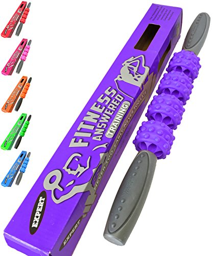 The Muscle Roller Stick Massage Stick Roller | Foam Roller Alternative for Athletes and Runners - Neck and Back - Advanced Purple