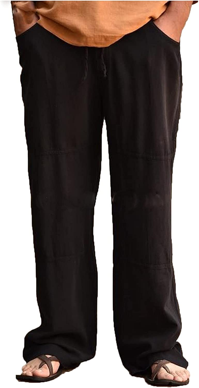 PHSHY Men's Cotton Linen Pants Summer Causal Loose Fit Elastic Waist Drawstring Casual Yoga Plus Size Trousers L-4XL