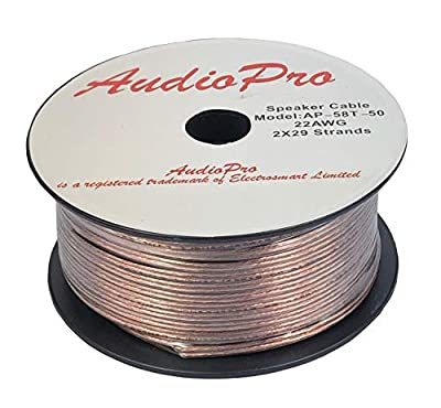 AudioPro Speaker Cable Wire 22 AWG (2 x 29 Strands) Select 25m or 50m Reel Colour White/Clear Transparent HiFi Home Audio Surround Sound etc (50m Reel, Transparent)