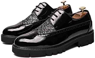 JIANFEI LIANG Men's Oxford Casual Personality Sequined Outsole Height Carved British Style Brogue Shoes (Color : Silver, Size : 38 EU)