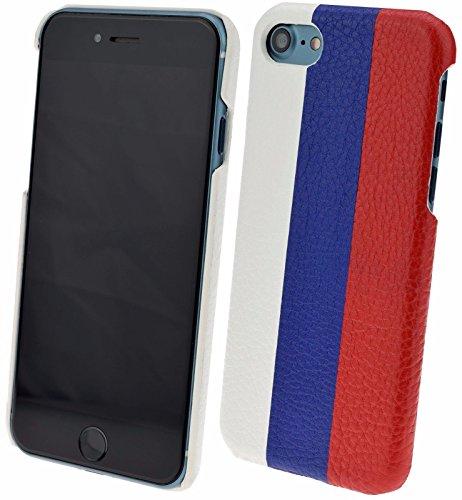iPhone 7 - Original SunCase (Backcover) Tasche Schutzhülle Hard Case aus echtem Leder in russiche Flagge / Russland Fahne Design   inkl. Panzerglas Folie 9H