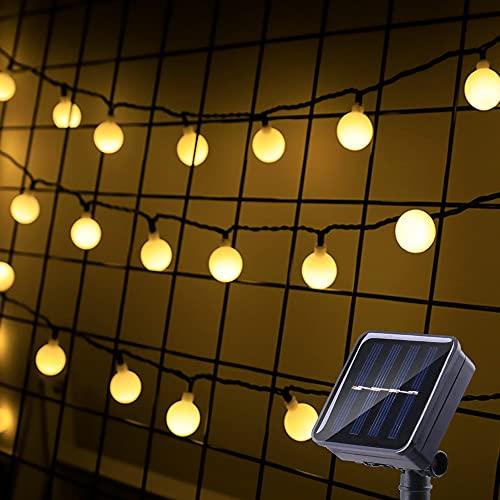 Solar Lichterkette Außen, Bzavor 100 LED Kugeln Lichterkette mit 800mAh Batterie, Aktualisiert Solarpanel, IP65 Wasserdicht Lichterkette für Partys Balkon Garten Terrasse Hof Haus Warmweiß