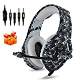Gaming Headset PS4, Compatible for Xbox One, Nintendo Switch, K1 Stereo Noise Cancelling Over Ear Headphones with Microphone, Volume Control for PC, Phone, with Free Headphone Hook