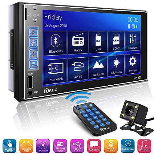 Double Din Car Stereo in-Dash Digital Media Car Stereo Receiver with Bluetooth, 7'' Capacitive Touchscreen Digital LCD Monitor, MP5 Player/FM/Am/TF/USB/Aux-in, Remote and Backup Camera Included
