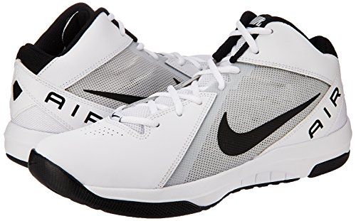Nike Mens The Air Overplay IX White/Black/Pure Platinum Basketball Shoe 8 Men US