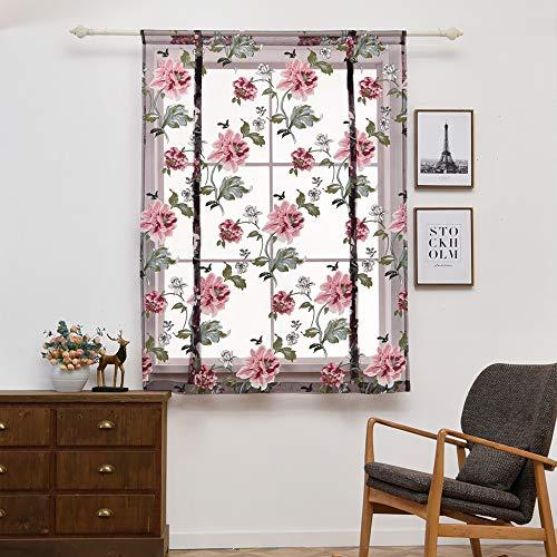 Wankd - Estor enrollable, diseño de peonías, transparente, corto, para el hogar, el salón, el dormitorio, la cocina o el baño, 100 x 140 cm