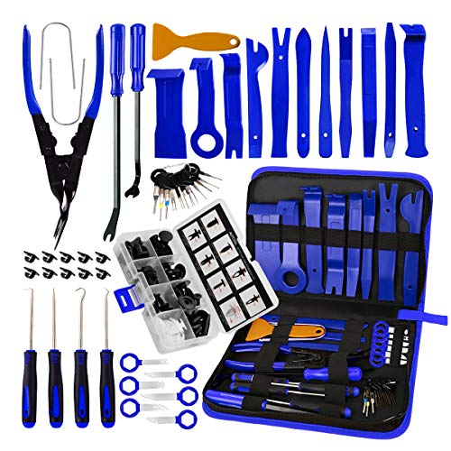 AUTOXEL BYNIIUR 88 Pcs Trim Removal Tool,Auto Push Pin Bumper Retainer Clip Set Fastener Terminal Remover Tool Adhesive Cable Clips Pry Kit Car Panel Radio Removal Auto Clip Pliers, Blue
