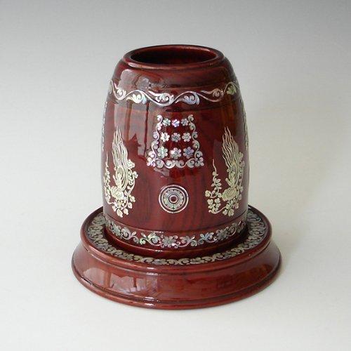 Pot à Crayons Nacre Bois Lotus Méditation Tradition Corée CLOCHE BOUDDHISTE