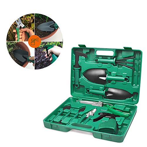 Boîte à outils de jardinage, 10 pièces de jardin et de plantation avec espace de rangement Case, Boîte à outils de jardin, outils de jardin avec étui ergonomique Anti-Slip poignée, pour Jardiner vert