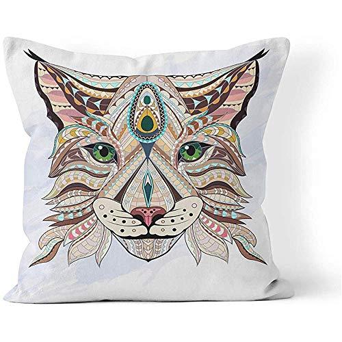Fodera per cuscino per cuscino quadrato 45x45 cm (18 pollici) Testa a motivi di lince Gatto selvatico Colore Doodle Cuscino per animali Decorazione per divani di casa Cerniera nascosta Federa in poliestere