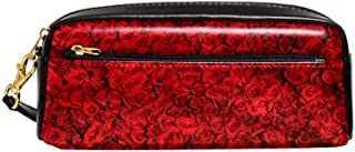 EGGDIOQ Leather Pencil Pen Bag Case Large Capacitywith Red Roses Ideal for School/College/Uni.- Make up Bag