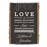 """GiftsForYouNow Personalized Love is Patient Wedding Afghan, 54"""" x 38"""", Wedding"""