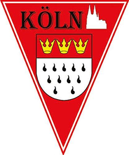 Whity Whiteman - Karneval Party Flaggen-Girlande Kölner Dom, Wappen, 5 Meter, Rot