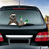 MIYSNEIRN Rear Window wiper Decal Take green leaf sloth Animal Waving Wiper arms 3D Funny Cartoon Car Bumper Windshield Sticker Tags Wiper Vinyl Decal for Vehicle Rear Wipers Decor