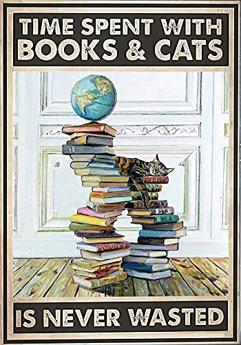 Carteles de metal Tiempo dedicado a libros y gatos Libros para amantes de los gatos Cartel Logotipo de hojalata Metal 12x8 pulgadas Carteles y placas de decoración