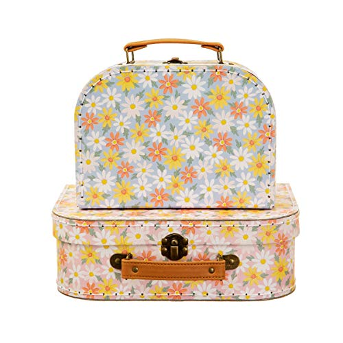 Sass & Belle Pink Daisy Suitcases - Set of 2