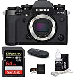 FUJIFILM X-T3 Mirrorless Digital Camera Body (Black) Bundle, Includes: SanDisk 64GB Extreme PRP SDXC Memory Card, Card Reader, Memory Card Wallet and Lens Cleaning Kit