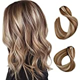 Clip in Hair Extensions Brown with Blonde Highlighted Human Hair Clip in Real...