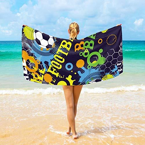 ARRISLIFE Asciugamani da spiaggia Abstract Football Shabby Large for Adult Kids 94x188 cm Asciugatura veloce Super Absorbent Asciugamano da viaggio