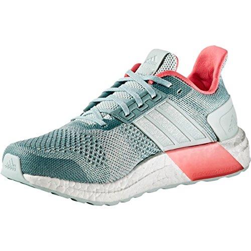 adidas Women's Ultra Boost ST W Running Shoe, Green/Chalk White/Vapour Steel Fabric, 6.5 M US