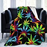 Super Soft Sherpa Plus Velvet Throw Wrap Cover Wrap Sheet for Sofa Couch Winter/Autumn, Tie Dye Cannabis Weed Leaves Queen Size Camping Blankets Throw Wearable Blankets