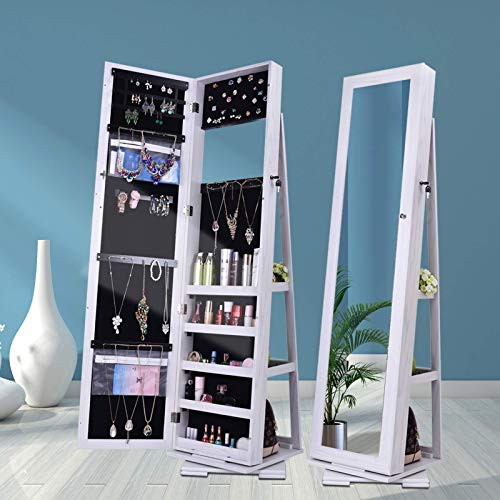 QILLIINN Jewelry Cabinet/Wall Jewelry Armoire, Jewelry Cabinet with Full Length Mirror, LED Light and Lockable Design, Large Capacity Dressing Mirror Makeup Jewelry Armoire/white
