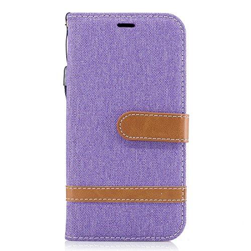 Samsung Galaxy J3 2017 da 5.0 pollici, Jeans Denim PU Custodia a chiusura magnetica con chiusura a vibrazione Custodia a portafoglio con 2 slot per schede da polso per Samsung Galaxy J3 2017