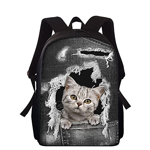 ZHANGWENJIE Denim Katze 3D Print Tasche Schulranzen für Jungen Mädchen Student Kinder Schulrucksack Schulranzen Kinder Büchertasche 35*27*16cm D