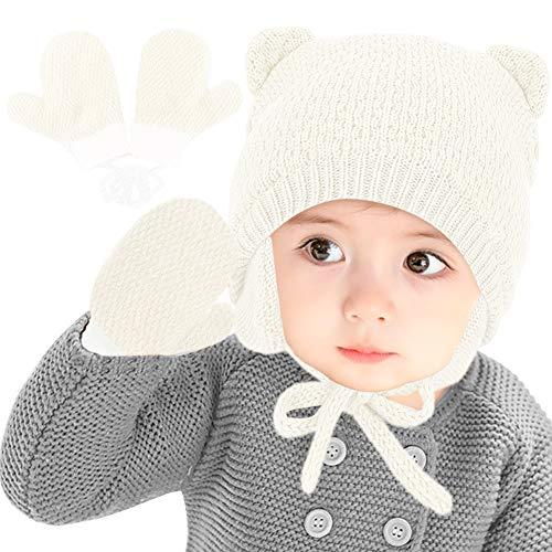 Gifort Sombrero de Bebé de Invierno para Unisex, Gorro de algodón con Motivo de Oso, Gorrito de Invierno y Guantes con Orejeras para niñas/niños Transpirable, cálido Blanco
