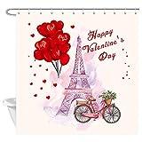 DYNH Valentinstag-Duschvorhang, Aquarell, Herzform, Luftballon & Fahrrad unter Paris, Eiffelturm, Duschvorhang, Stoff für Badezimmer, 12 Haken, 177,8 x 177,8 cm