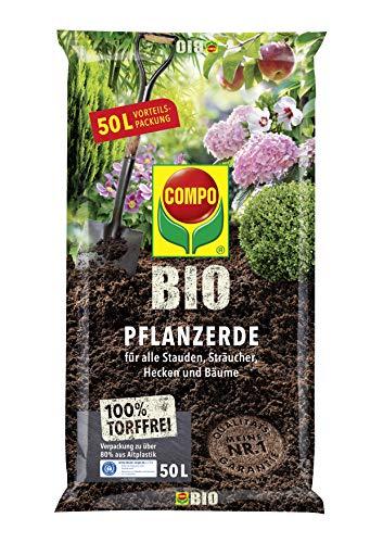 COMPO BIO Pflanzerde für Garten- und Zierpflanzen, Sträucher, Büsche und Gehölze, Torffrei, Kultursubstrat, 50 Liter, Braun