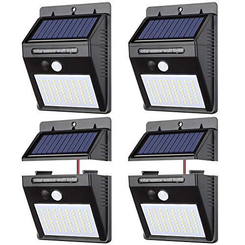 【 4個セット】ソーラーライト 人感センサー パネル分離 センサーライト 三つ点灯モード パネル分離可能 高輝度 太陽光発電 配線不要 防犯 防水 玄関 庭 屋外 駐車場 取付簡単 (昼白色)Merisny (64LED)