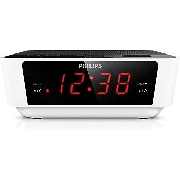 Philips AJ3115 Radio Réveil avec Tuner FM avec ecran, Double Alarme Noir