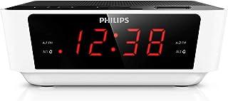 Philips AJ3115 radiobudzik z cyfrowym tunerem (podwójny alarm, UKW, wyłącznik czasowy, duży wyświetlacz) biały/czarny