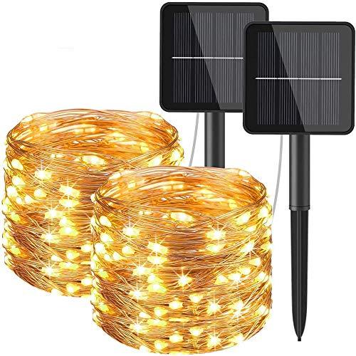 Innoo Tech - Cadena de luces solares para exteriores, 12 m, 120 ledes, 8 modos, resistente al agua, alambre de cobre, para jardín, balcón, terraza, puerta, patio, boda, fiesta, blanco cálido