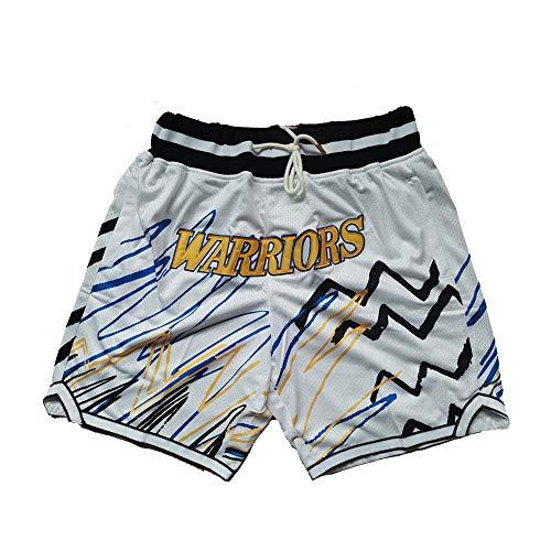 XWNZ Golden State Warriors Herren-Sportshorts, jugendlich bestickte Mesh-Basketballshorts, Vintage-Basketballuniform mit Lanyard Kann wiederholt gewaschen Werden-White A-XL
