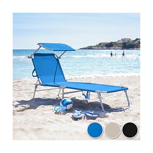 TecTake Gartenliege Sonnenliege Strandliege Freizeitliege mit Sonnendach 190cm -Diverse Farben- (Schwarz)