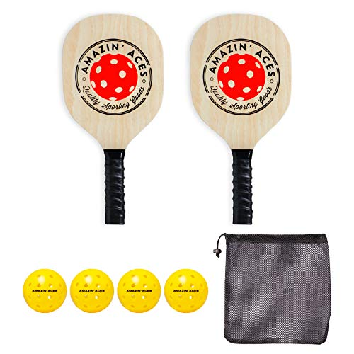 Amazin' Aces Pickleball Wood 2-Paddle Set - Pickleball Paddle Set Includes 2 Wood Pickleball Paddles, 4 Pickleballs, 1 Mesh Carry Bag, and 1 Quality Box