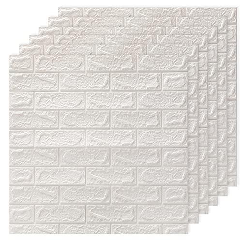 DTC GmbH 6ps carta da parati 3d Bianco Mattoni, pannelli decorativi 3d per parete, carta da parati adesiva muro PE Foam pannelli per Camera da Letto Soggiorno Moderno Sfondo TV Déc (77 cm x 70 cm)